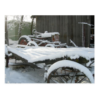 Snow wagon postcard