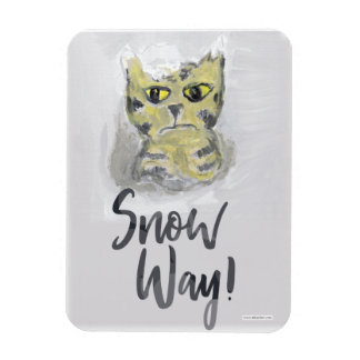 Snow Way Painted Cat Slogan Magnet