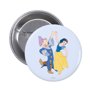 Snow White and Dopey dancing 2 Inch Round Button