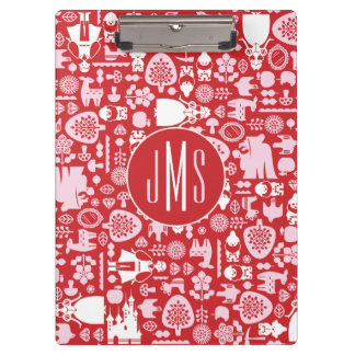Snow White and Friends Pattern   Monogram Clipboard
