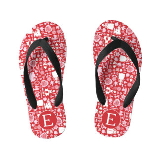 Snow White and Friends Pattern | Monogram Kid's Flip Flops