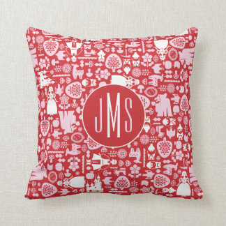 Snow White and Friends Pattern | Monogram Throw Pillow
