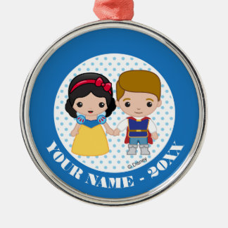 Snow White and Prince Charming Emoji Add Your Name Metal Ornament