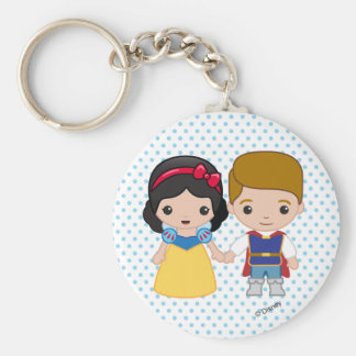 Snow White and Prince Charming Emoji Basic Round Button Keychain