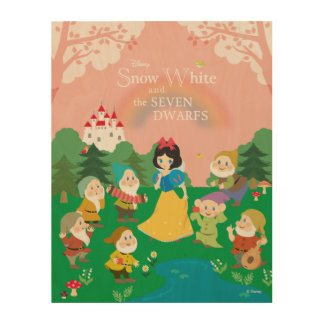 Snow White and the Seven Dwarfs Cartoon Wood Print