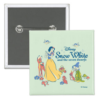 Snow White & Dopey with Friends 2 Inch Square Button