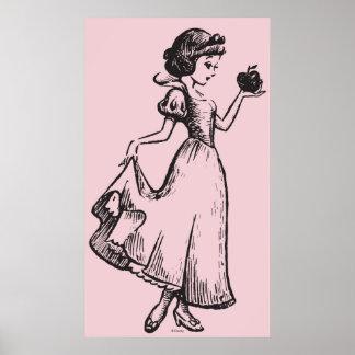 Snow White | Holding Apple - Elegant Sketch Poster