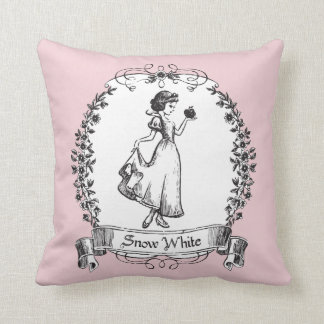Snow White | Holding Apple - Elegant Sketch Throw Pillow