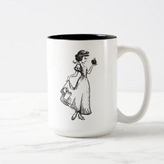 Snow White | Holding Apple - Elegant Sketch Two-Tone Coffee Mug