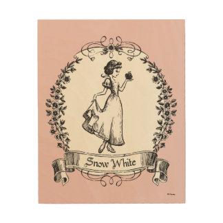 Snow White | Holding Apple - Elegant Sketch Wood Print