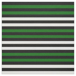 Snow white, Island green, midnight black stipe Fabric