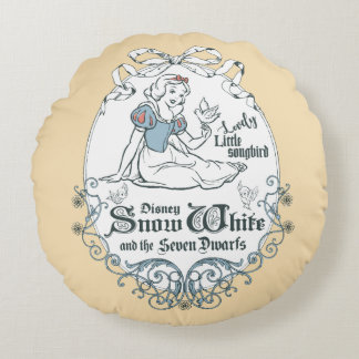 Snow White   Lovely Little Songbird Round Pillow