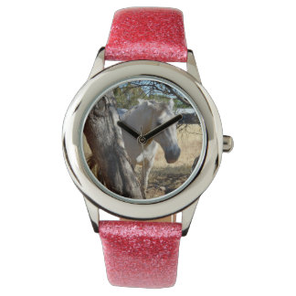 Snow White The Horse,Girls Pink Glitter Watch
