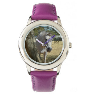 Snow White The Horse, Kids Purple Leather Watch