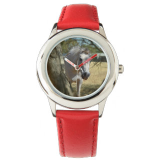 Snow White The Horse, Kids Red Leather Watch