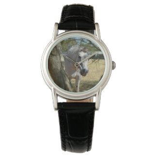 Snow White The Horse, Ladies Black Leather Watch