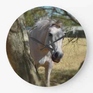Snow White The Horse, Large Round Wall clock. Large Clock