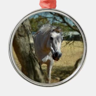Snow White The Horse,_ Silver-Colored Round Ornament