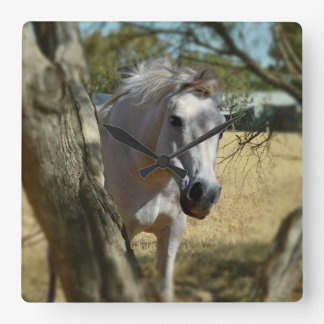 Snow White The Horse, Square Wall Clock