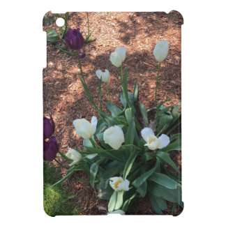 Snow white tulip type flowers in a garden case for the iPad mini