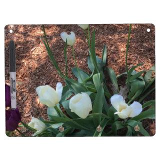 Snow white tulip type flowers in a garden dry erase board with keychain holder