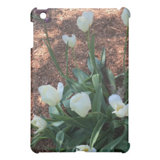 Snow white tulip type flowers in a garden iPad mini cover