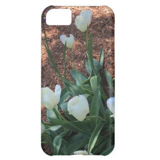 Snow white tulip type flowers in a garden iPhone 5C case
