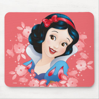 Snow White | Watercolor Floral Frame Mouse Pad