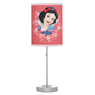 Snow White | Watercolor Floral Frame Table Lamps
