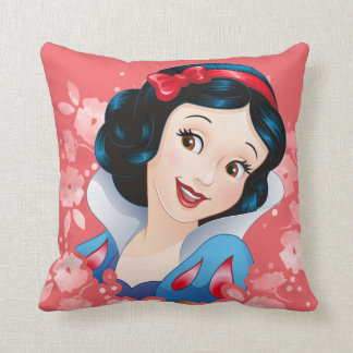 Snow White | Watercolor Floral Frame Throw Pillow