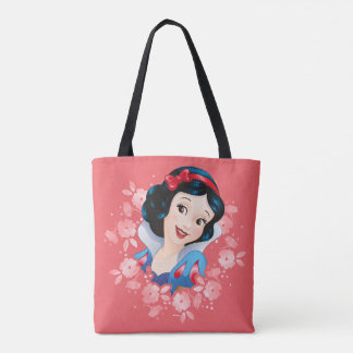 Snow White | Watercolor Floral Frame Tote Bag