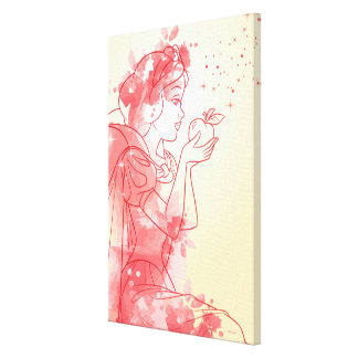 Snow White | Watercolor Outline Canvas Print