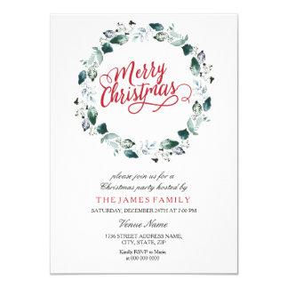 Snow White Wreath Merry Family Christmas Party Card