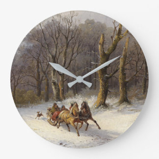 Snow Winter Forest Horses Sleigh Ride Wall Clock