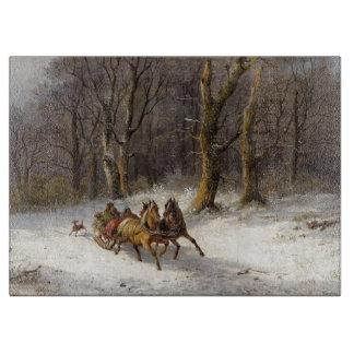 Snow Winter Horses Sleigh Animals Cutting Board