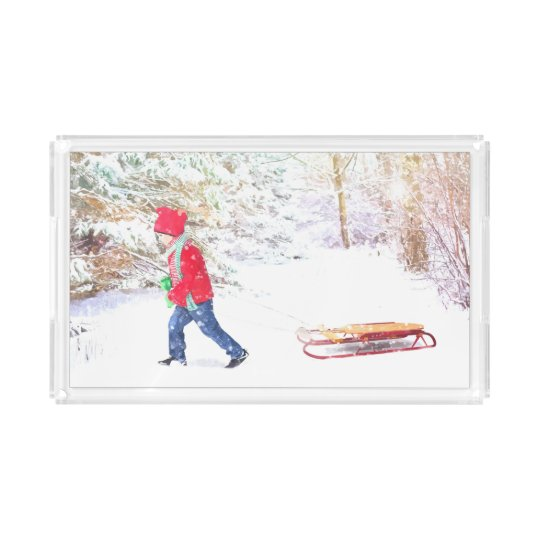 Snow winter sled boy christmas holidays acrylic tray