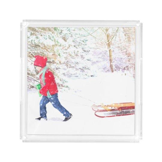 Snow winter sled boy christmas holidays acrylic tray