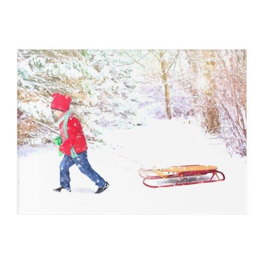 Snow winter sled boy christmas holidays acrylic wall art