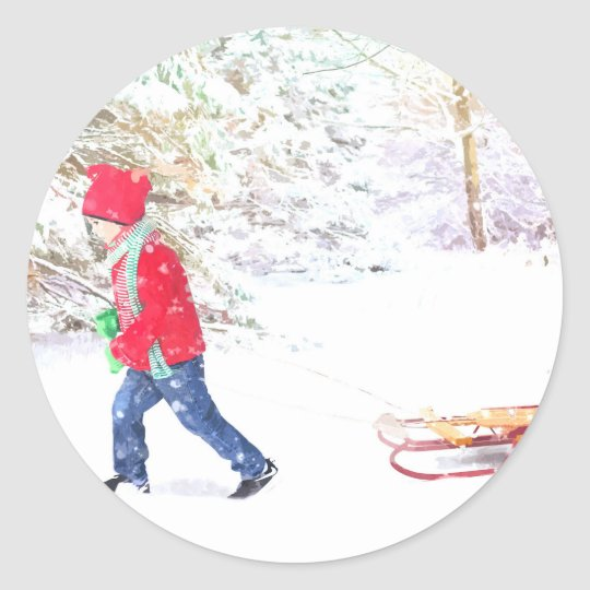 Snow winter sled boy christmas holidays classic round sticker