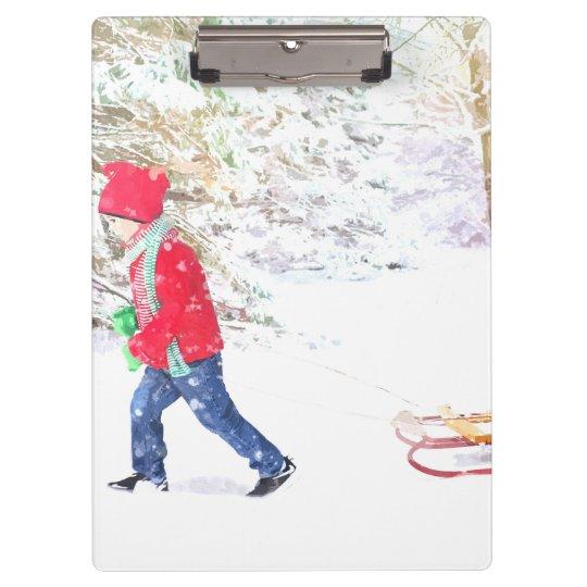 Snow winter sled boy christmas holidays clipboard