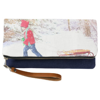 Snow winter sled boy christmas holidays clutch
