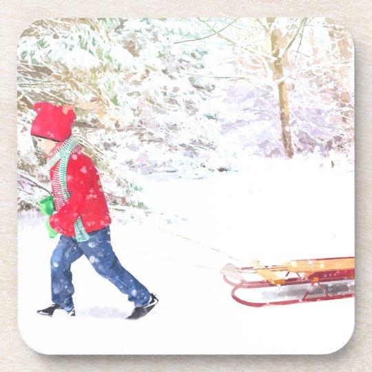 Snow winter sled boy christmas holidays coaster