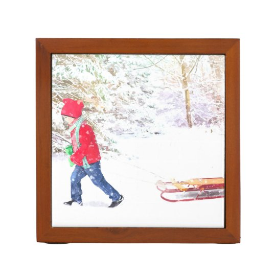 Snow winter sled boy christmas holidays desk organizer