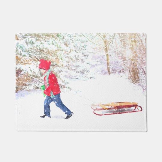Snow winter sled boy christmas holidays doormat