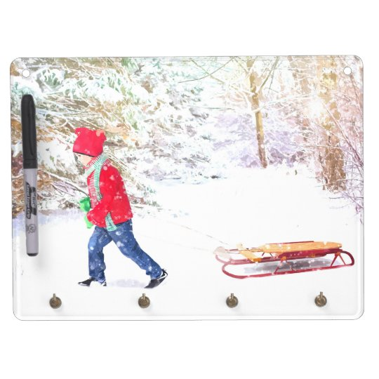 Snow winter sled boy christmas holidays dry erase board with keychain holder