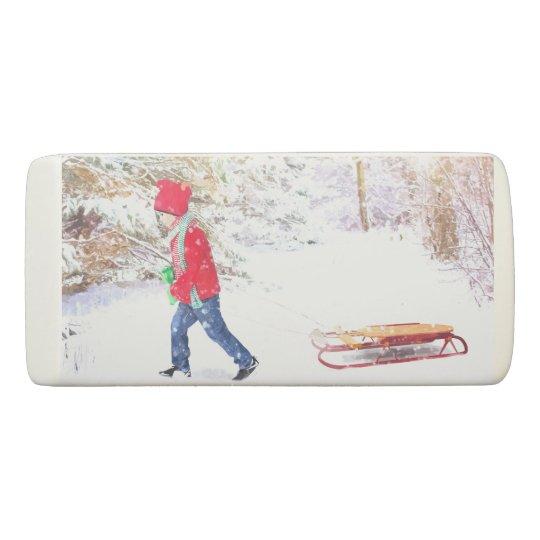 Snow winter sled boy christmas holidays eraser