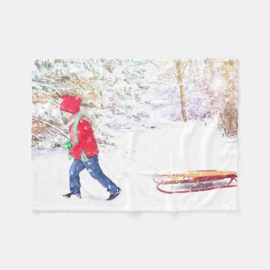 Snow winter sled boy christmas holidays fleece blanket