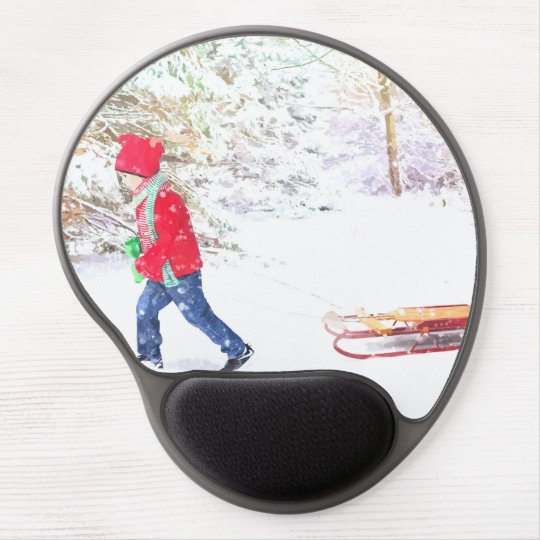 Snow winter sled boy christmas holidays gel mouse pad