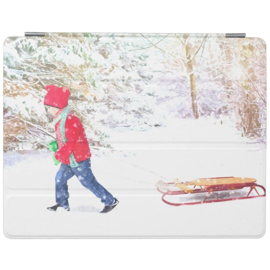 Snow winter sled boy christmas holidays iPad cover