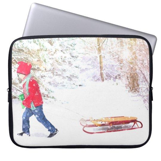 Snow winter sled boy christmas holidays laptop sleeve